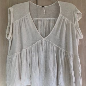 Free People white tiered Top T shirt